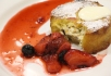 Ricotta stuffed panettone with berries and cream.