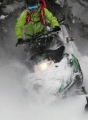 Steve uses his snowmobile mainly to gain access to remote areas of the backcountry where he can ski tour far from the crowds at more easily accessed areas.
